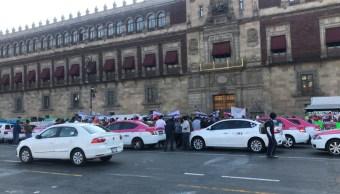 Foto: Taxistas bloquean la circulación en el Zócalo de la CDMX 20 marzo 2019