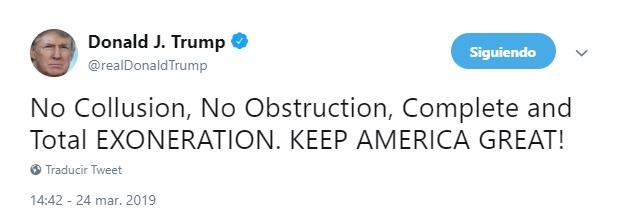 """Foto: Trump dice que conclusiones del informe Muller suponen """"una completa exoneración"""", marzo 24 de 2019 (Twitter: @realDonaldTrump)"""