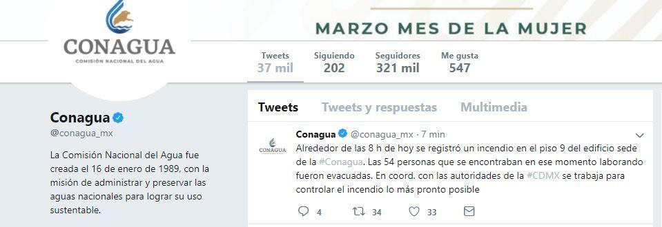 Foto: Tuit de la Comisión Nacional del Agua, 23 marzo 2019