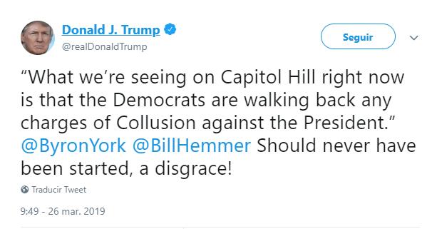 Foto: Tuit de Trump sobre los demócratas, 26 de marzo de 2019, Estados Unidos