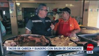 Foto: Tacos de cabeza y suadero en sala de cacahuate