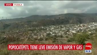Volcán Popocatépetl registra leve emisión de vapor y gas