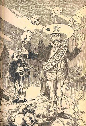 Caricatura en respuesta a Madero, que procuró acercarse a Zapata mediante pláticas para apaciguar la violencia en Morelos después de que estas conferencias resultaron infructuosas. 1911. (CC/Wikimedia)