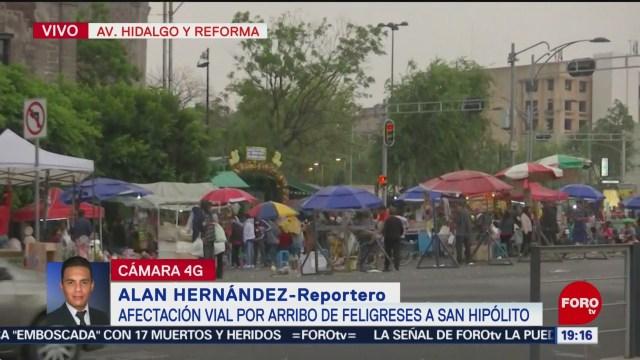 FOTO: Afectación vial por arribo de feligreses a San Hipólito, 28 ABRIL 2019
