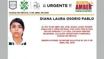 Foto Alerta Amber para localizar a Diana Laura Osorio Pablo 12 abril 2019