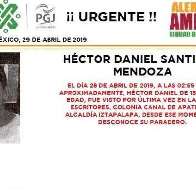 Alerta Amber: Ayuda a localizar a Héctor Daniel Santiago Mendoza