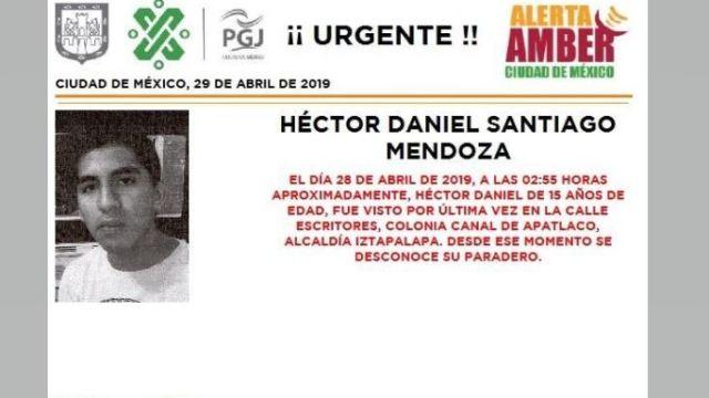 Foto Alerta Amber para localizar a Héctor Daniel Santiago Mendoza 29 abril 2018