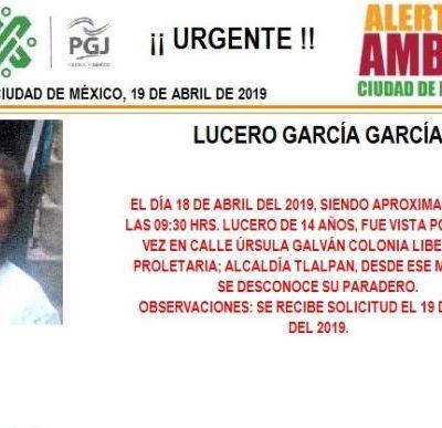 Alerta Amber: Ayuda a localizar a Lucero García García