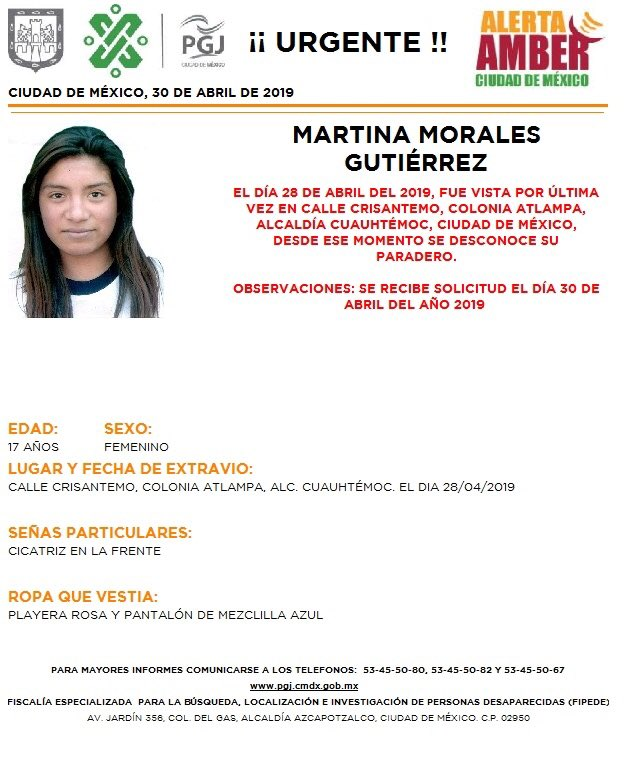 Foto Alerta Amber para localizar a Martina Morales Gutiérrez 30 abril 2019