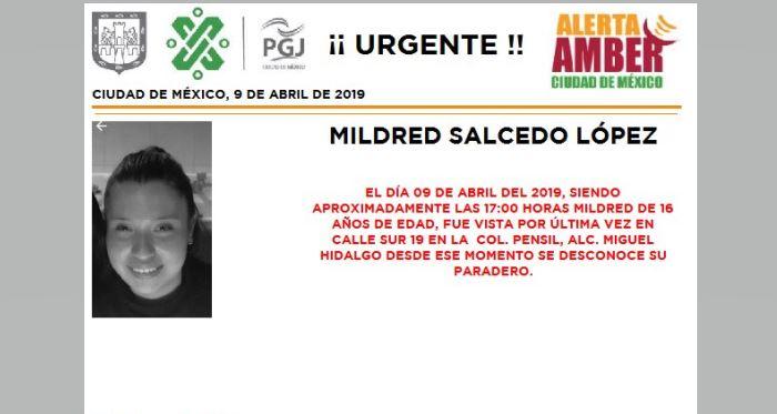 Foto Alerta Amber para localizar a Mildred Salcedo López 10 abril 2019