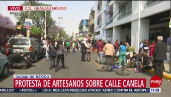 Artesanos protestan en la Ciudad de México