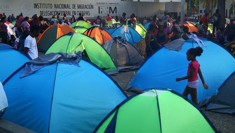 Foto: Bloqueo de migrantes en Chiapas, 9 de abril 2019. EFE