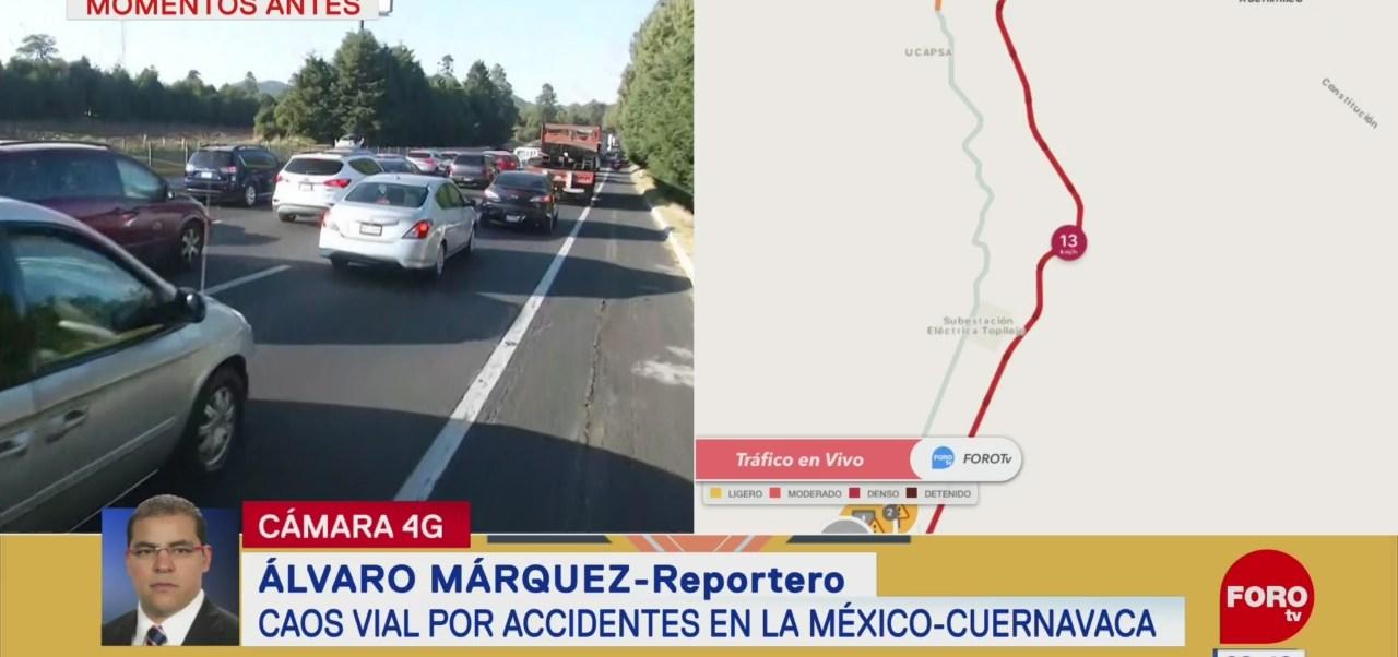 FOTO: Caos vial por accidentes en la México-Cuernavaca, 18 abril 2019