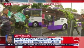 FOTO: Choque de unidad de transporte público en Tlalpan y Taxqueña deja varios heridos, 20 ABRIL 2019
