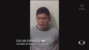 FOTO: Declara hombre que lanzó granada a transporte público en Tecámac, 18 ABRIL 2019