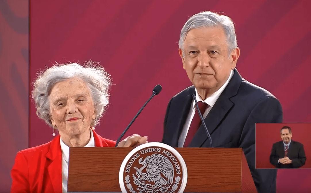 Foto: Elenita Poniatowska y López Obrador, 1 de abril de 2019, Ciudad de México