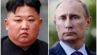 Foto: Combinación de fotografías de archivo del líder norcoreano, Kim Jong-un, y el presidente de Rusia, Vladimir Putin. El 22 de abril de 2019