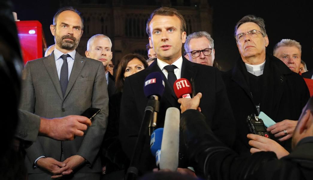 Foto: Emmanuel Macron, presidente de Francia, ofrece mensaje tras incendio de la catedral de Notre Dame de París. El 15 de abril de 2019