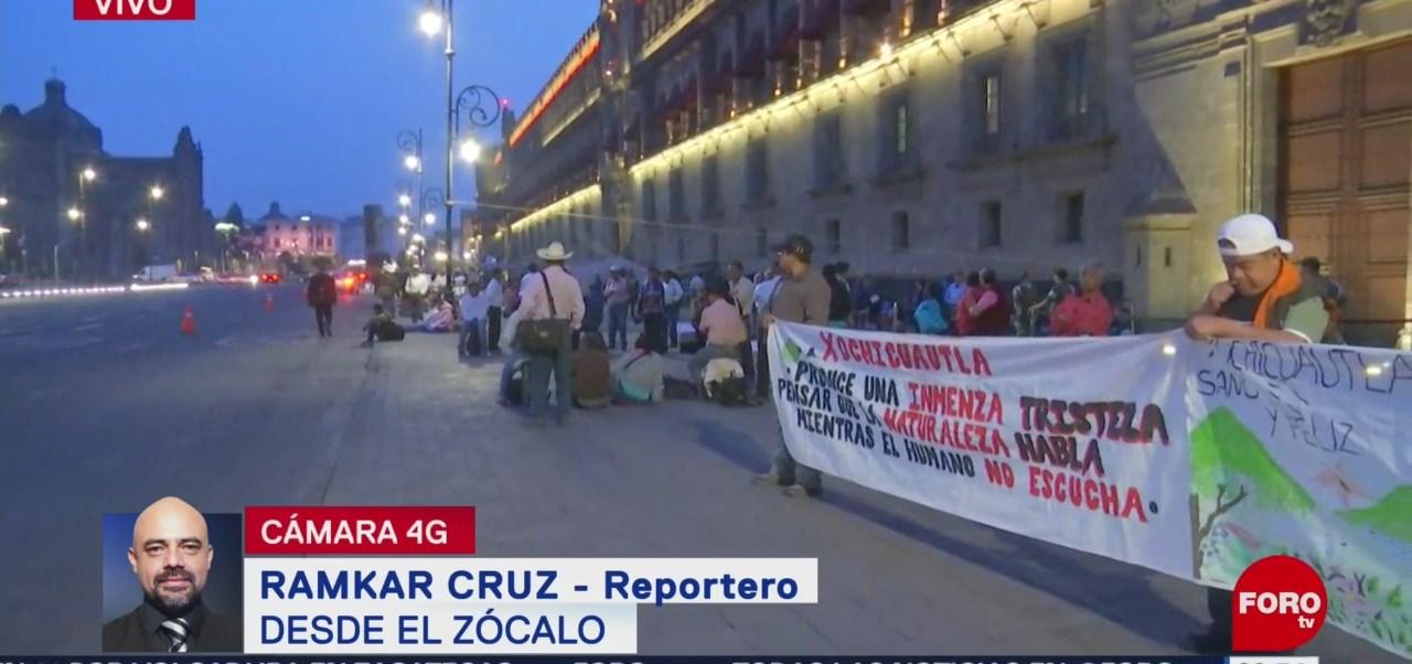 Habitantes de Lerma protestan frente a Palacio Nacional, CDMX