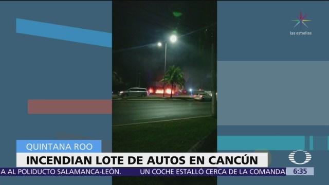 Hombres armados queman lote de autos de lujo en Cancún