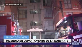 Incendio consume departamento en la Narvarte, CDMX