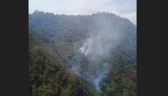 Foto: Incendio forestal en la Reserva de la Biosfera 'El Triunfo', 4 de abril 2019. Twitter @CONAFOR