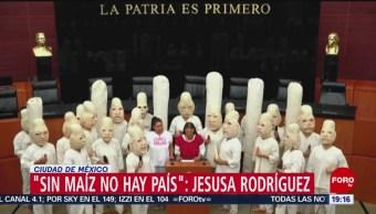 Foto: Jesusa Rodríguez Presenta Iniciativa Salvar Maíz Botargas Senado 25 de Abril 2019