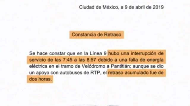 Metro emite justificante de retraso para el trabajo por falla en Línea 9