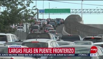 FOTO: Largas filas en puente fronterizo en Chihuahua, 13 de abril 2019