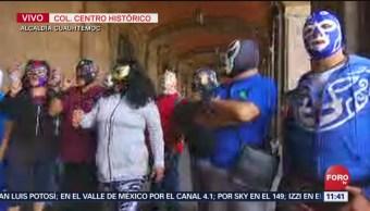 FOTO: Luchadores protestan frente al edificio de Gobierno CDMX, 18 ABRIL 2019