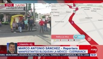 Foto: Manifestantes bloquean la México-Cuernavaca
