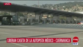 Manifestantes liberan caseta Tlalpan de autopista México-Cuernavaca