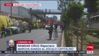 Manifestantes marchan al Zócalo de la CDMX; hay cortes viales