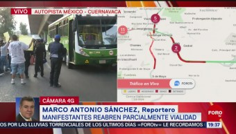 FOTO: Manifestantes reabren parcialmente la autopista México-Cuernavaca, 24 ABRIL 2019