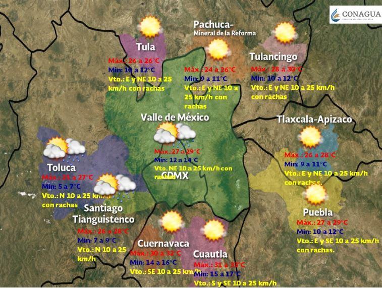 Foto: Pronóstico meteorológico para las siguientes 48 a 72 h en las Ciudades de la Megalópolis, 20 abril 2019
