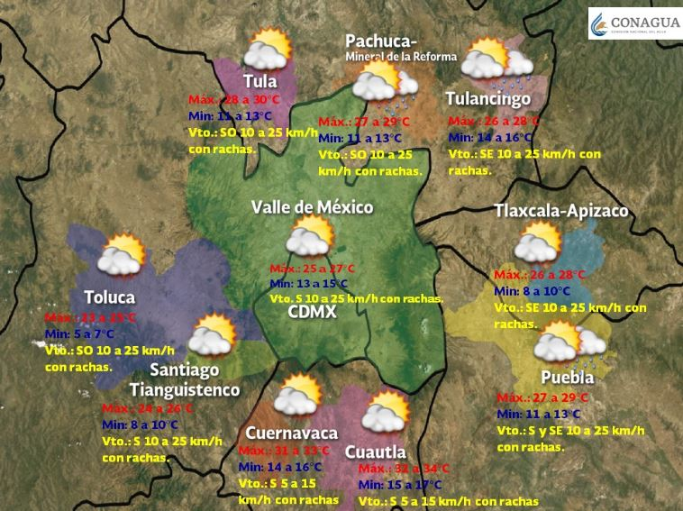Foto:Mapa de las temperaturas en la Mesa Central, 7 abril 2019