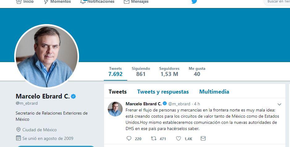 Foto: Twitter del secretario de Relaciones Exteriores, Marcelo Ebrard,10 abril 2019