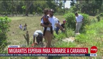 FOTO: Migrantes esperan sumarse a una caravana en Chiapas, 14 de abril 2019