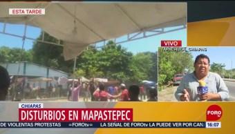 FOTO: Migrantes realizan disturbios en Mapastepec, Chiapas, 13 de abril 2019