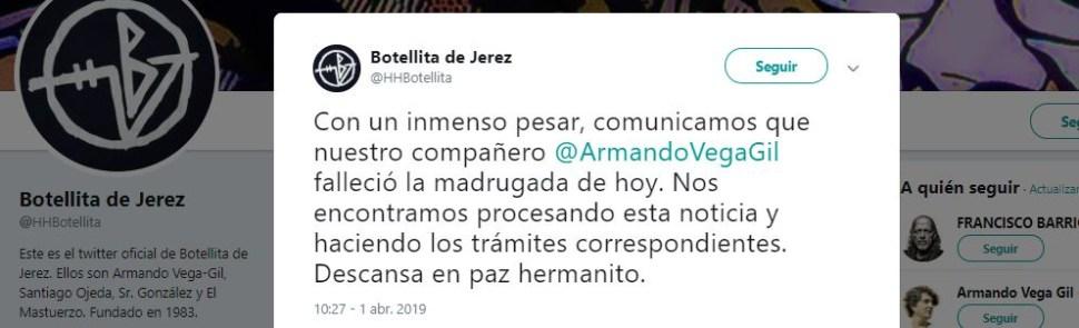 Foto: Muere Armando Vega Gil, fundador e integrante del Botellita de Jerez 1 abril 2019