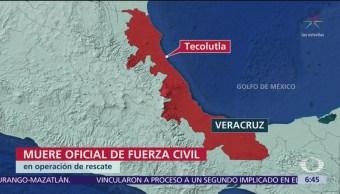 FOTO: Muere oficial durante operativo de rescate en Veracruz, 19 ABRIL 2019