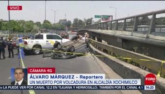 FOTO: Muere una persona en volcadura en Periférico a la altura de la México Xochimilco, 21 ABRIL 2019