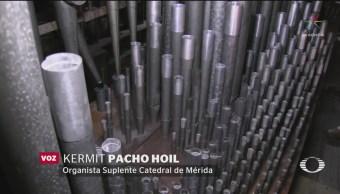 FOTO: Órgano antiguo acompaña misas y ceremonias en catedral de Mérida, 18 ABRIL 2019
