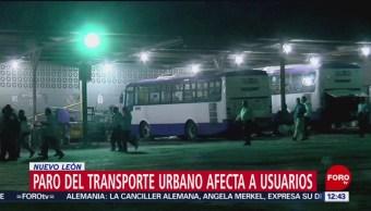 Paro de transporte público afecta varios municipios de Nuevo León