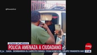 FOTO:Policía de Xonacatlán, Edomex, amenaza a ciudadano con pistola, 19 ABRIL 2019