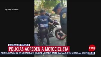 Foto: Policías agreden a motociclista en la CDMX