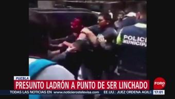 FOTO: Presunto delincuente estuvo a punto de ser linchado en Puebla, 7 de abril 2019
