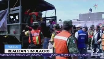 Realizan simulacro de evacuación por erupción volcánica en Puebla