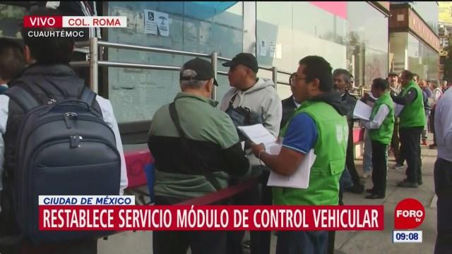 Restablecen servicio en módulos de control vehicular de CDMX