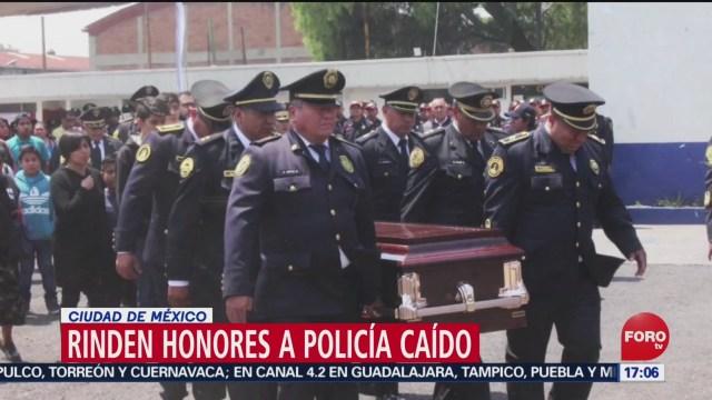 FOTO: Rinden honores a policía fallecido en alcoholímetro en CDMX, 14 de abril 2019